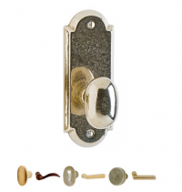 Rocky Mountain EB75 Arched Escutcheon with Choice of Knob or Lever from the Builder Series