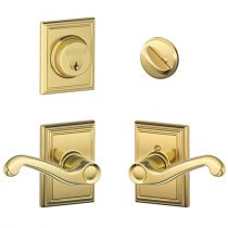 Schlage F57 F59 FLA/ADD Addison Collection Single Cylinder Deadbolt with Flair Passage Lever