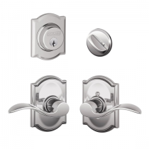 Schlage F57 F59 ACC/CAM Camelot Collection Single Cylinder Deadbolt with Accent Passage Lever