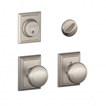 Schlage F57 F59 AND/ADD Addison Collection Single Cylinder Deadbolt with Andover Passage Knob