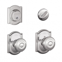 Schlage F57 F59 GEO/CAM Camelot Collection Single Cylinder Deadbolt with Georgian Passage Knob