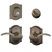 Schlage F57 F59 STA/CAM Camelot Collection Single Cylinder Deadbolt with St. Annes Passage Lever