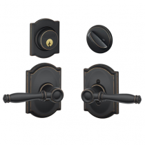 Schlage F57 F59 BIR/CAM Camelot Collection Single Cylinder Deadbolt with Birmingham Passage Lever
