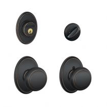 Schlage F57 F59 AND/WKF Wakfield Collection Single Cylinder Deadbolt with Andover Passage Knob