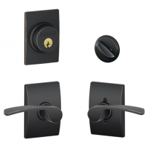 Schlage F57 F59 MER/CEN Century Collection Single Cylinder Deadbolt with Merano Passage Lever