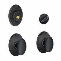 Schlage F57 F59 SIE/WKF Wakfield Collection Single Cylinder Deadbolt with Siena Passage Knob