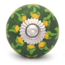 PotteryVille Yellow Flower and Lime Green Leaf with Green Base Knob