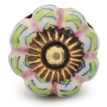 PotteryVille Lime Green and Pink Stripes Cabinet knob-Small