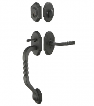 Emtek Wrought Steel Sectional Handleset With San Carlos Grip
