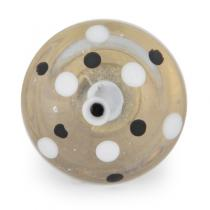 PotteryVille White and Black Polka Dotted Clear Glass Knob