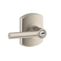 Schlage F51A-BRW-GRW Broadway Keyed Entry Door Lever Set with Greenwich Rose