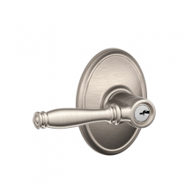 Schlage F51A-BIR-WKF Birmingham Keyed Entry Door Lever Set with Wakefield Rose