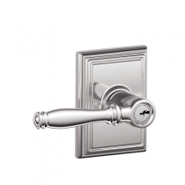 Schlage F51A-BIR-ADD Birmingham Keyed Entry Lever Set with Addison Rose