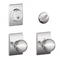 Schlage F57 F59 ORB/CEN Century Collection Single Cylinder Deadbolt with Orbit Passage Knob