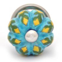 PotteryVille Yellow Flower and Green Leaf with Turquoise Base Knob-Small
