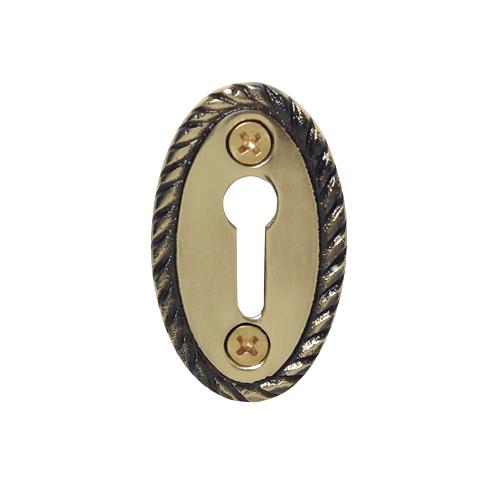 Nostalgic Warehouse KHLROP Rope Keyhole Cover Antique Brass (AB)