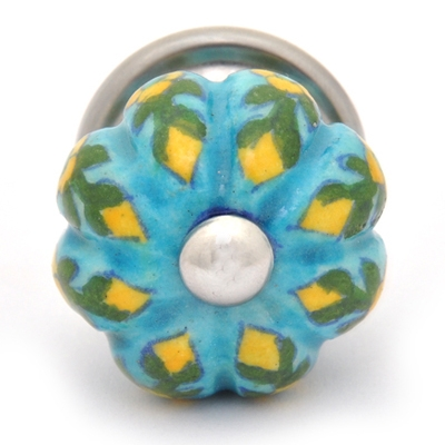 PotteryVille Yellow Flower and Green Leaf with Turquoise Base Knob