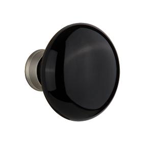 Nostalgic Warehouse Black Porcelain Knobs Satin Nickel (SN)