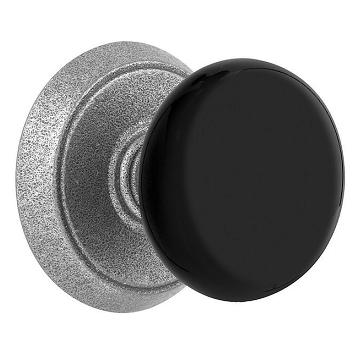 Emtek Madison Black Door Knob set with #2 Rosette Satin Steel