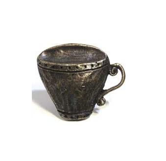 Emenee MK1054 Teacup Cabinet Knob in Antique Matte Brass (ABR)