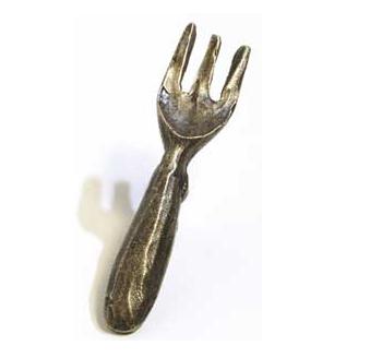 Emenee MK1058 Fork Cabinet Knob in Antique Matte Brass (ABR)