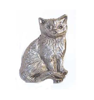 Emenee MK1092 Cat Cabinet Knob shown in Antique Matte Silver (AMS)