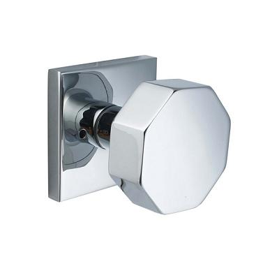 Emtek Brass Octagon Door Knob Set with Square Rosette Polished Chrome (US26)