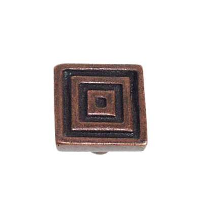 Emenee OR102 Small Square Cabinet Knob shown in Antique Matte Coppper (ACO)