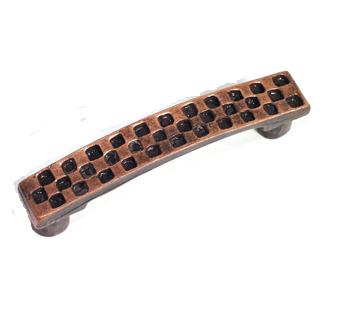 Emenee OR136 Checkerboard Cabinet Pull shown in Antique Matte Copper (ACO)