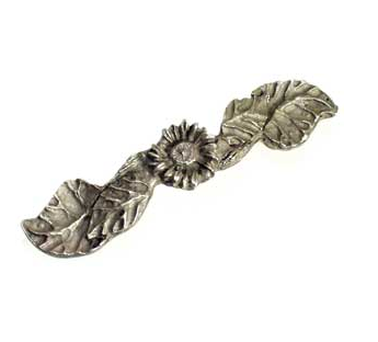 Emenee OR163 Sunflower Cabinet Pull shown in Antique Matte Silver