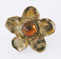 Emenee OR187S Flower Design Cabinet Knob with Amber Stone in Antique Matte Gold