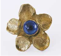 Emenee OR187S Flower Design Cabinet Knob with Blue Stone in Antique Matte Gold