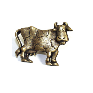 Emenee OR253 Cow facing Right Cabinet Knob shown in Matte Antique Brass (ABR)