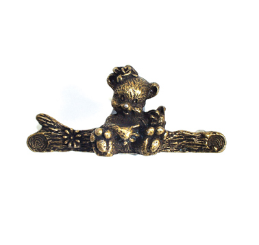 Emenee OR258 Bear Cabinet Pull in Antique Matte Brass (ABR)