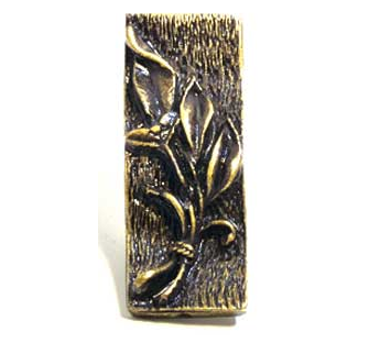 Emenee OR329 Small Leaf Texture Cabinet Knob shown in Antique Brass