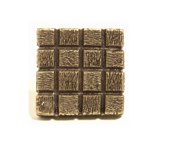 Emenee OR338 Textured Square Cabinet Knob shown in Antique Matte Gold (AMG)