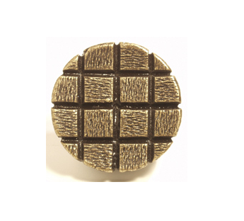 Emenee OR339 Textured Checkerboard Circle Cabinet Knob in Antique Matte Gold
