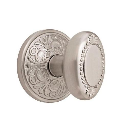 Emtek Beaded Egg Door knob with Lancaster rose Satin Nickel (15)