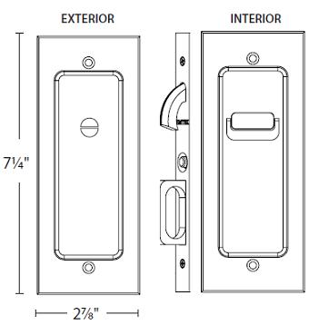 Emtek 2115 Modern Rectangular Privacy Pocket Door Mortise