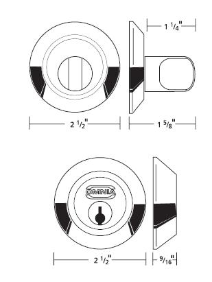 Omnia D9000 Modern Stainless Steel Auxiliary Deadbolt