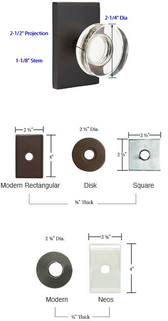 Emtek Modern Disc Crystal Door Knob Set Low Price Door Knobs