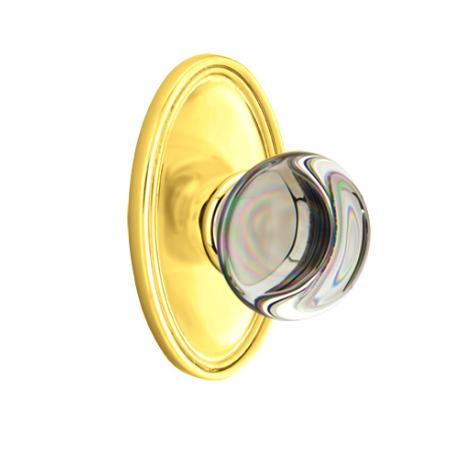 Emtek Providence Crystal Door Knob Set with Oval Rose