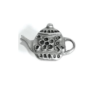 Emenee PFR115 Small Teapot Cabinet Knob shown in Antique Matte Silver (AMS)