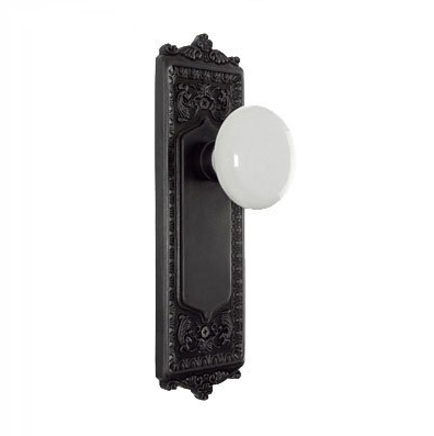 Nostalgic warehouse Egg and Dart Backplate with Porcelain Knob Oil Rubbd Bronze