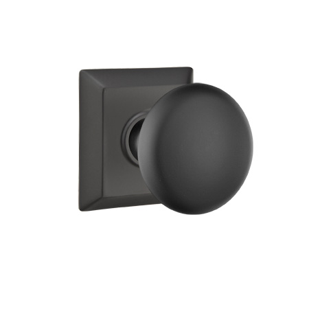 Emtek Providence Door Knob with Quincy Rose Flat Black (US19)