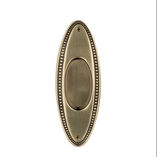 Nostalgic Warehouse Oval Beaded flush Pull Polished Brass (PB)