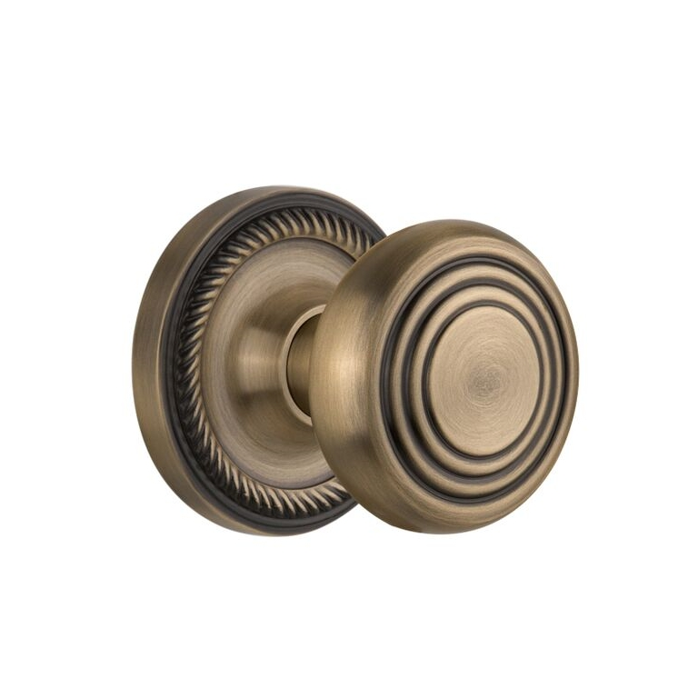 Nostalgic Warehouse ROPDEC Deco Knob Set with Rope Rose Antique Brass