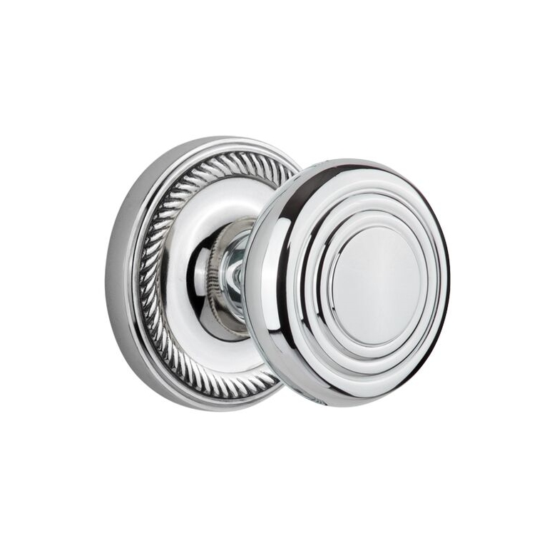Nostalgic Warehouse ROPDEC Deco Knob Set with Rope Rose Bright Chrome