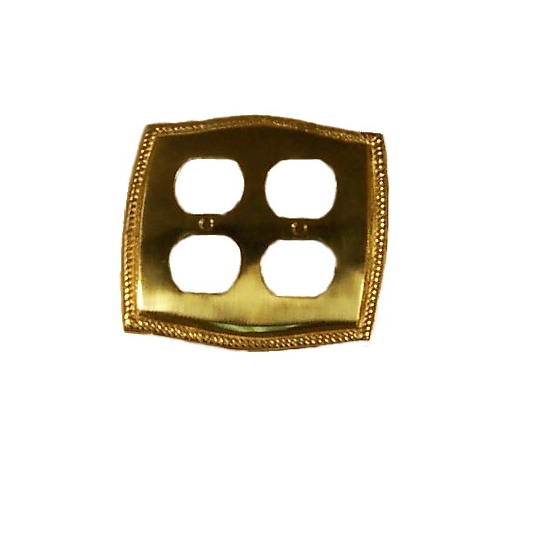 Brass Accents Rope Double Outlet Plate