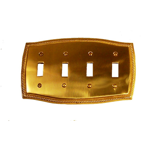 Brass Accents Rope Quad Switch Plate